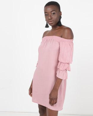 8c6d425d688930 Legit Bardot Shift Dress With Tiered Sleeve Blush