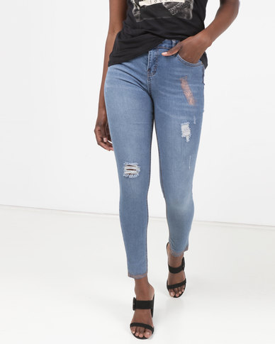 Legit Skinny Jeans With Rose Gold Paint Detail Stonewash