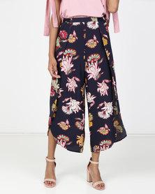 Legit Floral Print Overlap Wideleg Pants Navy
