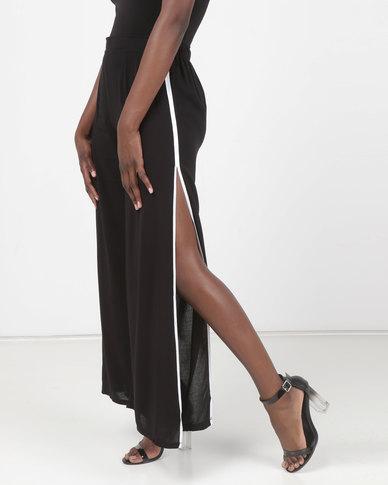 Legit Side Slit Wide Leg Pants With Contrast Binding Black