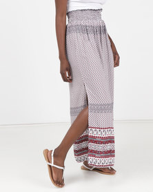 Legit Border Print Shirred Waist Maxi Skirt Multi