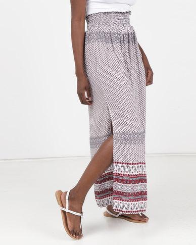 Legit Border Print Shirred Waist Maxi Skirt Multi