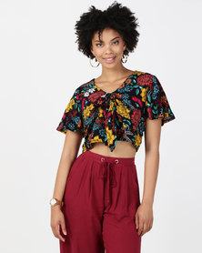 Legit Floral Flutter Sleeve Crop Top With Tie Front Multi