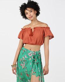 Legit Bardot Gypsy Crop Top With Tassle Tie Front Rust