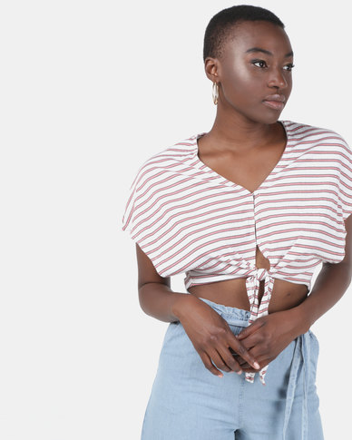 Legit Stripe Tie Front Top With Batwing Sleeve White