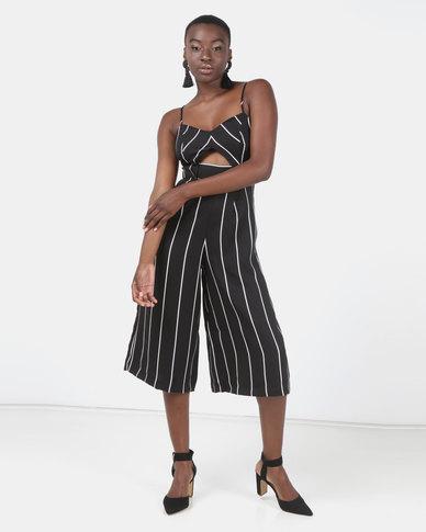 Legit Strapless Stripe Culotte Jumpsuit Black