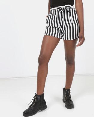 Legit Stripe Self Fabric Tie Belt Shorts Black