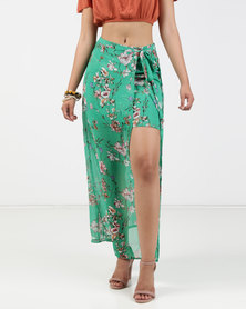 Legit Floral Wrap Skirt Green