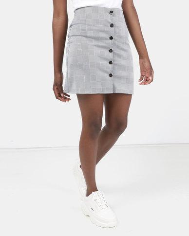 Legit Button Down Front Check Mini Skirt Black/White