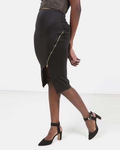 Legit Zip Detail Pencil Skirt Black