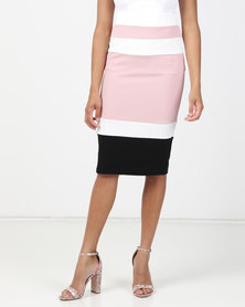 Legit Colour Block Pencil Skirt Blush