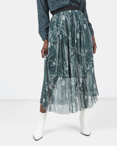 Legit Printed Mesh Maxi Skirt Green