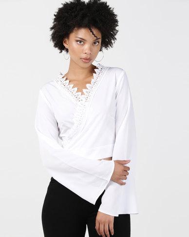 Legit Flared Sleeve Wrap Blouse White