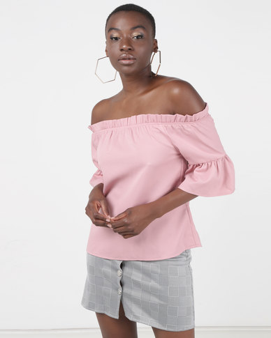 6c5d63f31c9e2 Legit Off The Shoulder Frill Sleeve Crop Top Blush