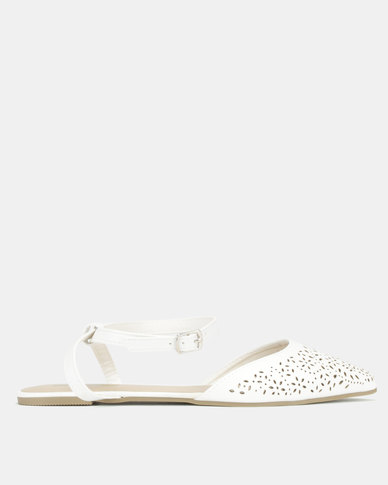 Legit Laser Cut Pointy Flats With Ankle Strap White