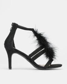 Legit T-Bar Fur Heels With Back Zip Black