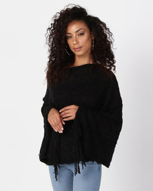 UB Creative Stripe Knit Poncho Black