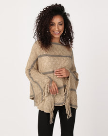 UB Creative Stripe Knit Poncho Brown
