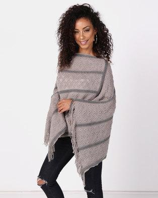 UB Creative Stripe Knit Poncho Grey