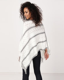 UB Creative Stripe Knit Poncho White