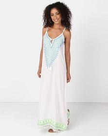 UB Creative Cotton Embroided Sun Dress White Blue
