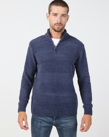 JCrew 1/4 Zip Front Chenile Blue