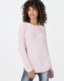 cath.nic By Queenspark Curved Hem Chunky Knit Jersey Pink