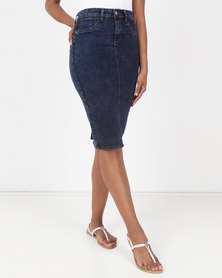 cath.nic By Queenspark Stretch Denim Skirt Blue