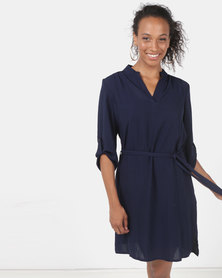 Queenspark Private Label Ghost Crepe Woven Shirt Dress With Tie Detail Navy