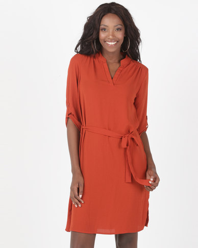 Queenspark Private Label Ghost Crepe Woven Shirt Dress With Tie Detail Orange