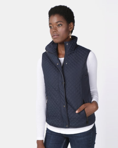 Queenspark Piped Puffer Gilet Woven Jacket Navy
