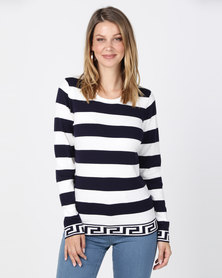Queenapark Smart Mosaic Stripe Crewneck Jersey Navy