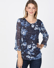 Queenapark Spot & Flower Print Knit Top Blue