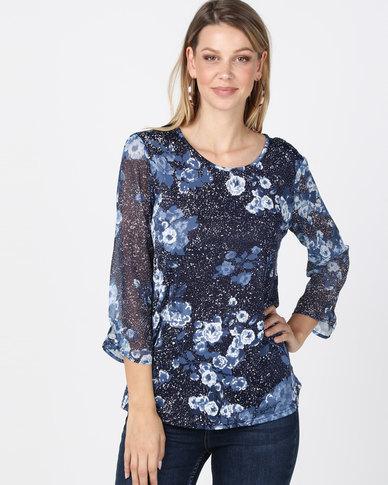 Queenapark Spot & Flower Print Knit Top Blue