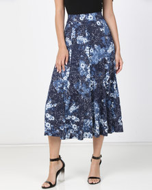 Queenapark Spot & Flower Print Knit Skirt Blue