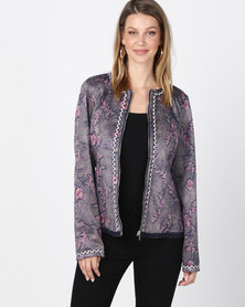 Queenapark Tuscan Blues Suedette Printed Jacket Blue