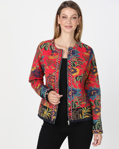 Queenapark Floral Quilted Zip Through Jacket Red