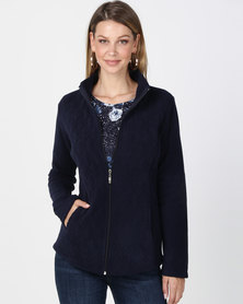 Queenapark Long Sleeve Quilted Zip through Fleece Jacket Navy