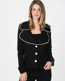 Queenspark Pearl Trim Double Collar Knit Jacket Black/White
