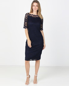 Queenapark Monaco Stretch Lace Woven Dress Navy