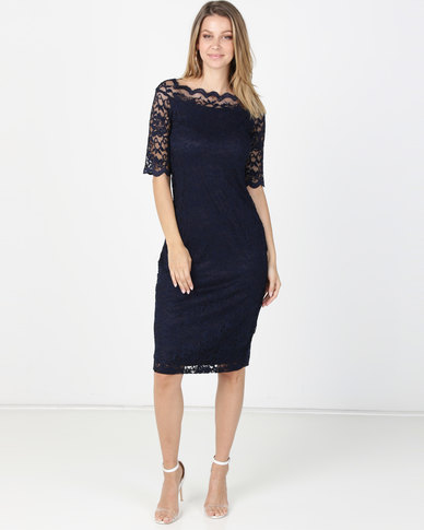 Queenapark Monaco Stretch Lace Woven Dress Navy