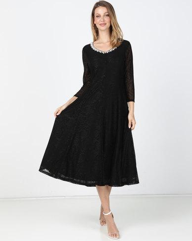 Queenapark Princess Grace Flocked Knit Dress Black