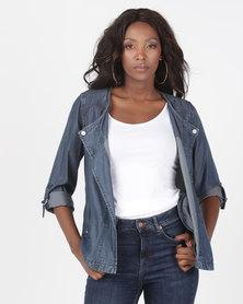 Miss Cassidy By Queenspark Tencel Woven Jacket Indigo