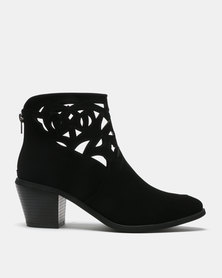Queenspark Cutout Ankle Boots Black