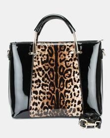 Queenspark Patent Animal Print Bag Black