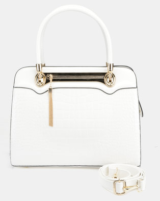 Queenspark Plaited Handle Bag White