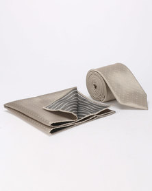JCrew Stone Self Design Tie & Hankie Gold