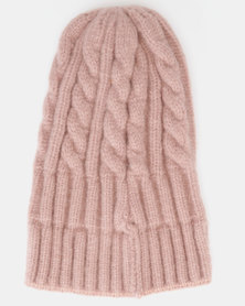 You & I Cable Knit Beanie Soft Pink