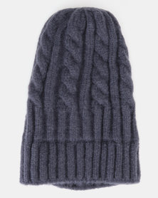 You & I Cable Knit Beanie Navy