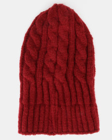 You & I Cable Knit Beanie Marsala